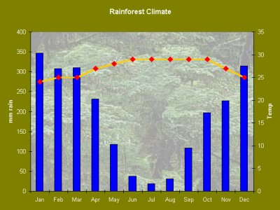 Rainforest climate biomes rainfall can reach more than 100 inches a year there is usually a brief season of less rain in monsoonal areas there is a real dry season freerunsca Choice Image